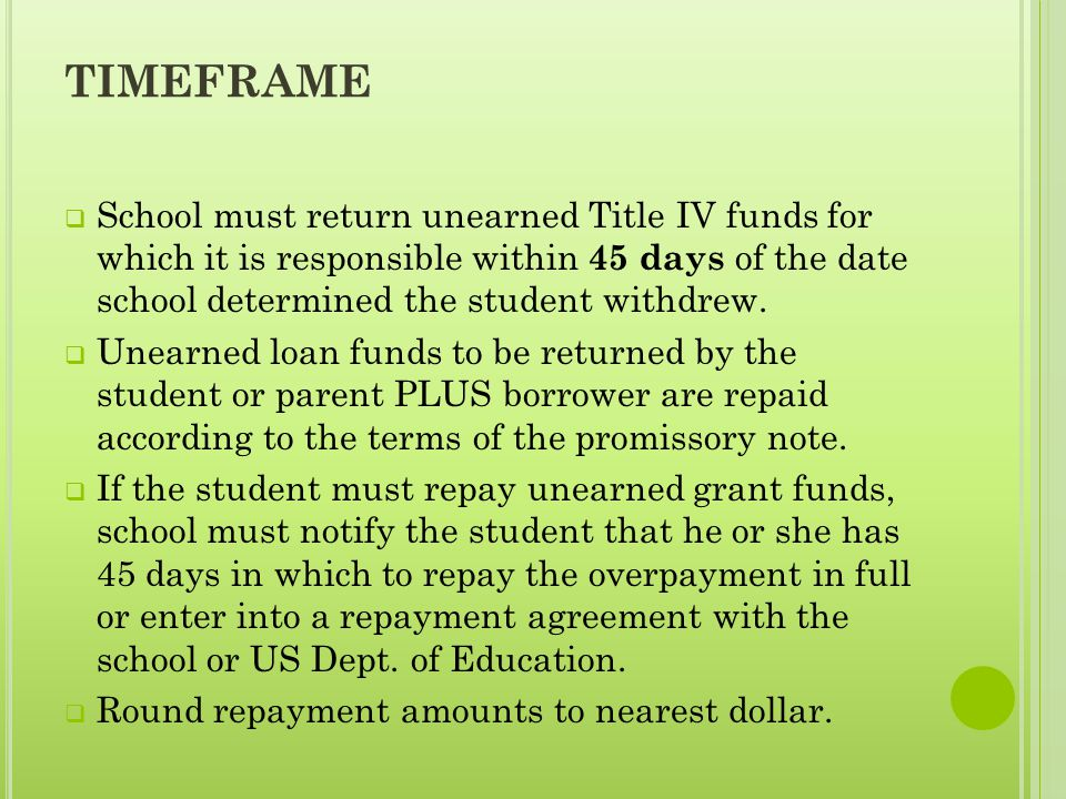 TIMEFRAME  School must return unearned Title IV funds for which it is responsible within 45 days of the date school determined the student withdrew.