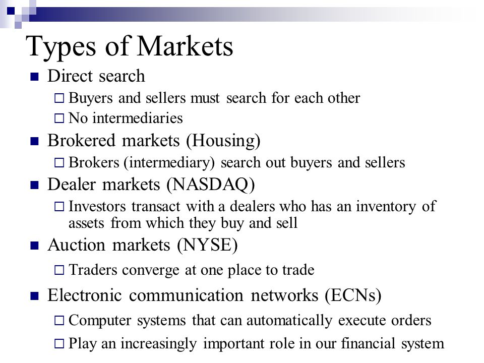 Types of Markets Direct search  Buyers and sellers must search for each other  No intermediaries Brokered markets (Housing)  Brokers (intermediary)