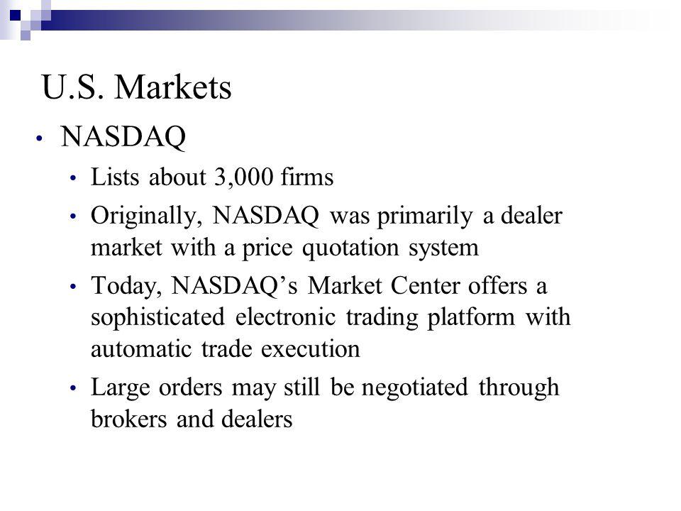 U.S. Markets NASDAQ Lists about 3,000 firms Originally, NASDAQ was primarily a dealer market with a price quotation system Today, NASDAQ's Market Cent