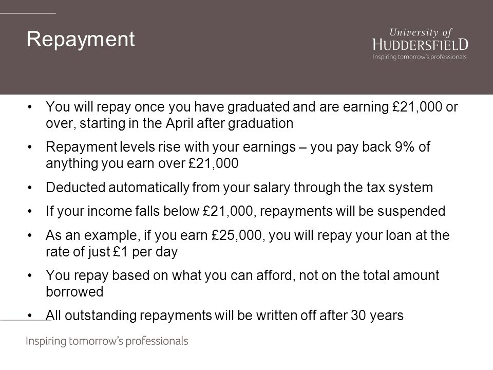 Repayment You will repay once you have graduated and are earning £21,000 or over, starting in the April after graduation Repayment levels rise with your earnings – you pay back 9% of anything you earn over £21,000 Deducted automatically from your salary through the tax system If your income falls below £21,000, repayments will be suspended As an example, if you earn £25,000, you will repay your loan at the rate of just £1 per day You repay based on what you can afford, not on the total amount borrowed All outstanding repayments will be written off after 30 years