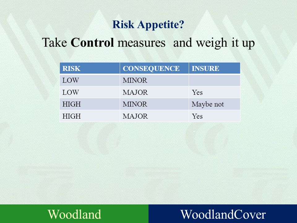 Risk Management Identify Potential event / failure Assess Probability ConsiderConsequences Appetite Could you live with that? Manage Measures to reduc
