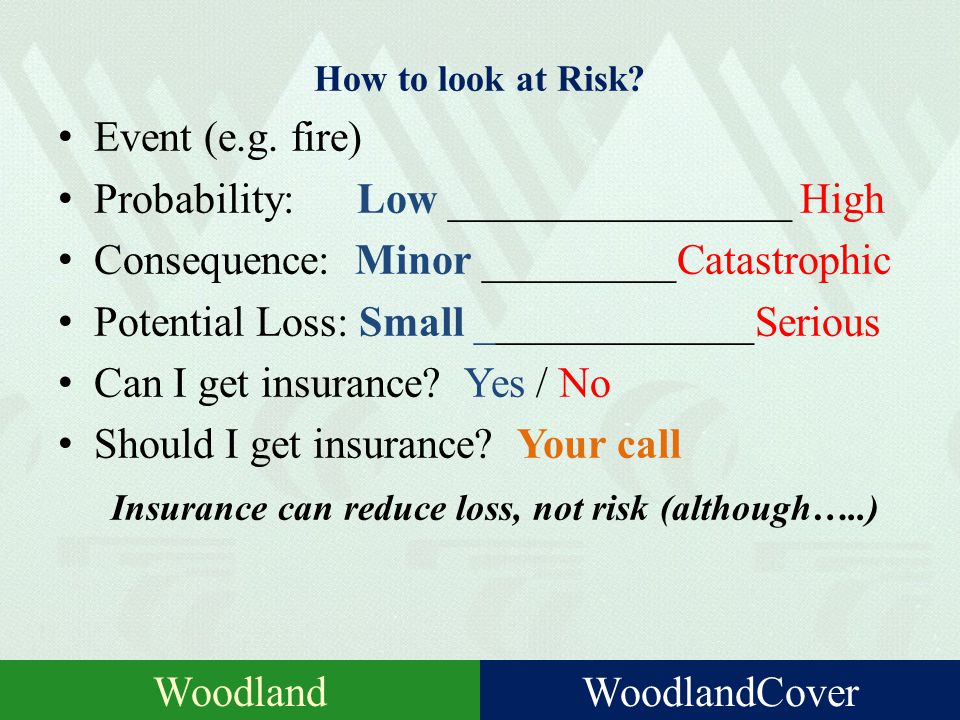 What is Risk? Risk: hazard, danger; exposure to mischance or peril. The chance that the actual outcome will be worse than expected (= loss) Involuntar