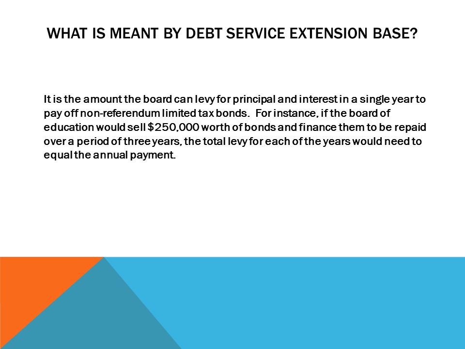 WHAT IS MEANT BY DEBT SERVICE EXTENSION BASE.