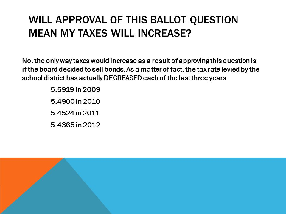 WILL APPROVAL OF THIS BALLOT QUESTION MEAN MY TAXES WILL INCREASE.