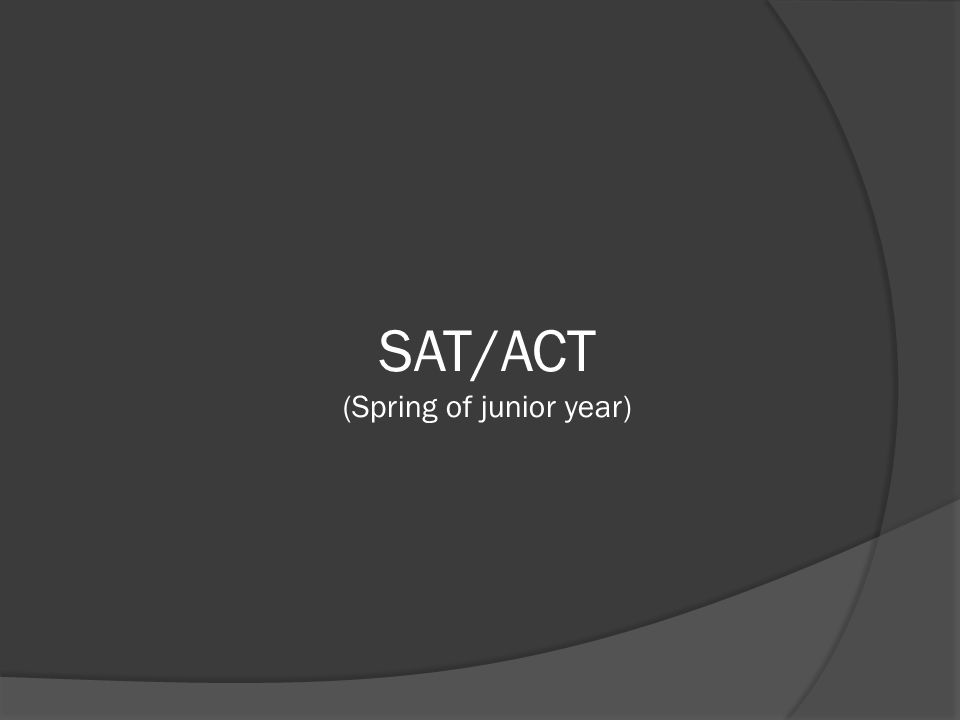 SAT/ACT (Spring of junior year)