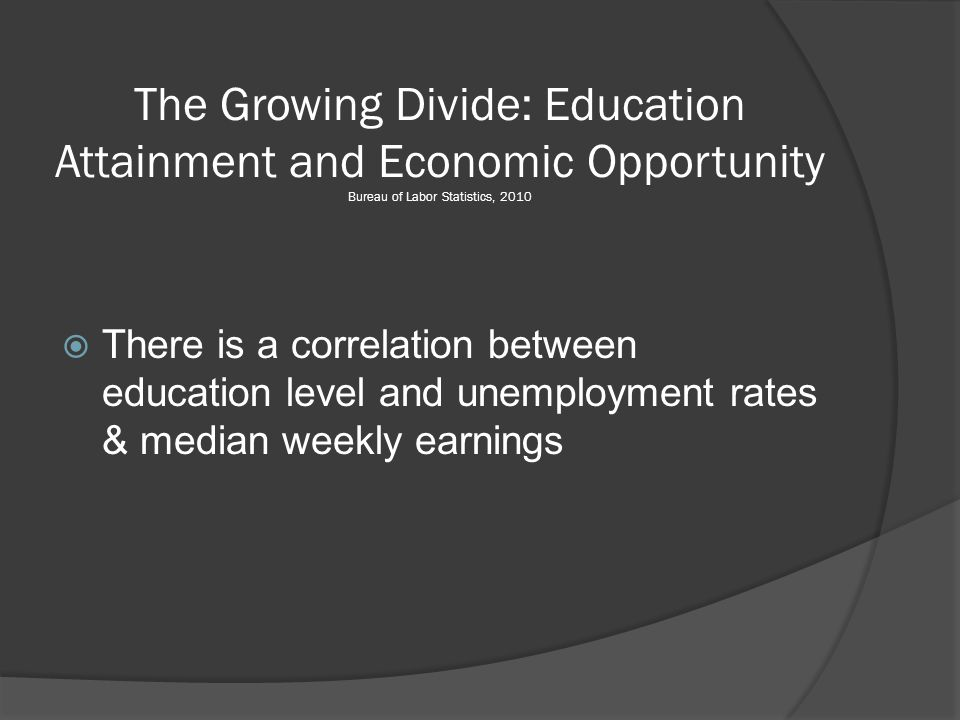 The Growing Divide: Education Attainment and Economic Opportunity Bureau of Labor Statistics, 2010  There is a correlation between education level and unemployment rates & median weekly earnings