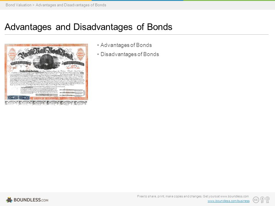 Advantages of Bonds Disadvantages of Bonds Advantages and Disadvantages of Bonds Bond Valuation > Advantages and Disadvantages of Bonds Free to share, print, make copies and changes.