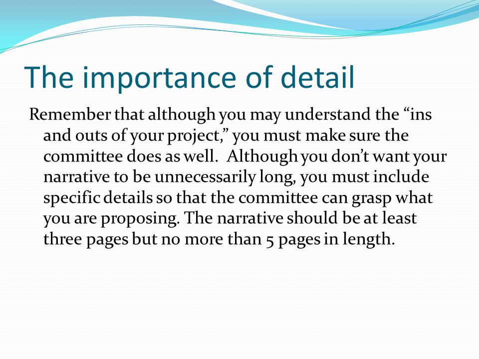 The importance of detail Remember that although you may understand the ins and outs of your project, you must make sure the committee does as well.