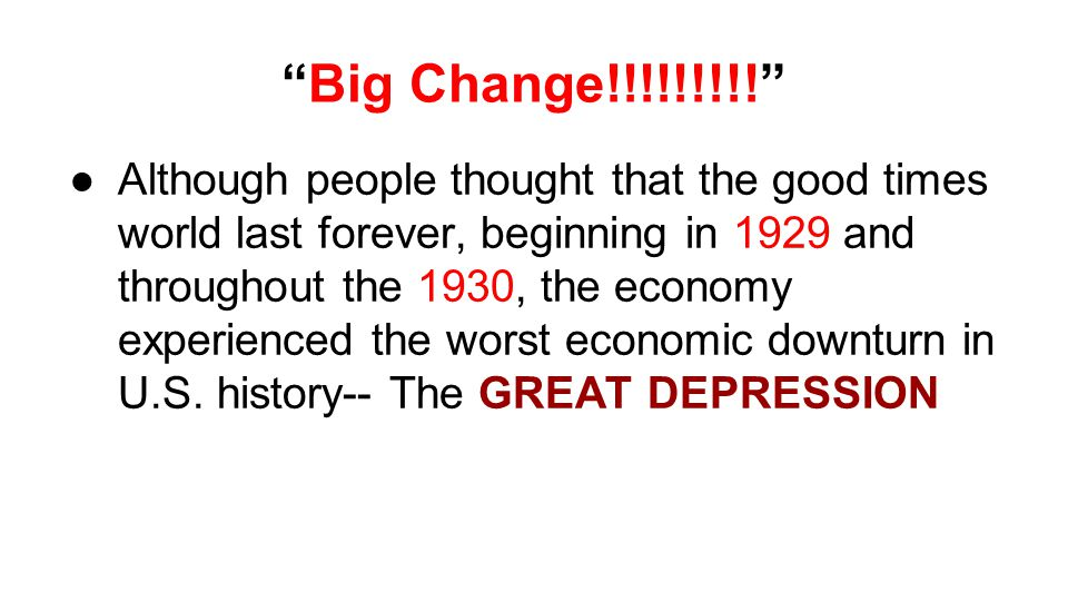 Additional Notes 1.World War I made it impossible for many Europeans farmers to grow and sell their crops.