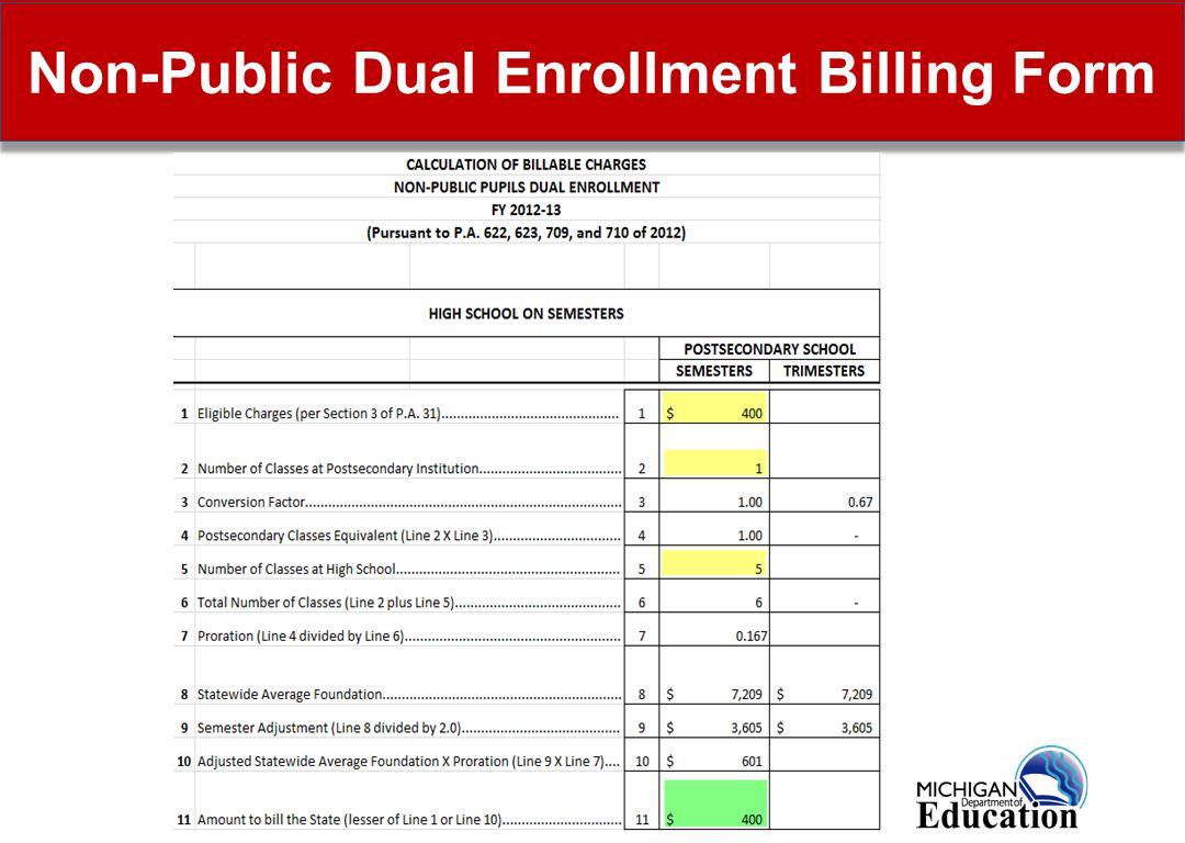 18 Non-Public Dual Enrollment Billing Form
