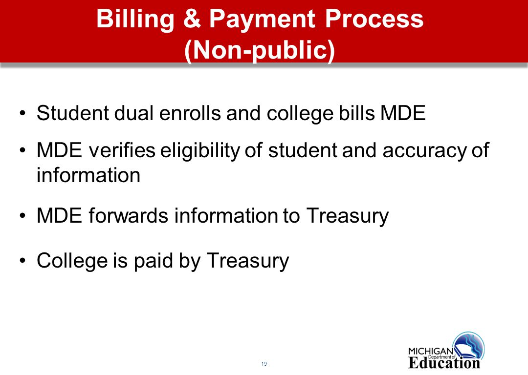 19 Billing & Payment Process (Non-public) Student dual enrolls and college bills MDE MDE verifies eligibility of student and accuracy of information MDE forwards information to Treasury College is paid by Treasury