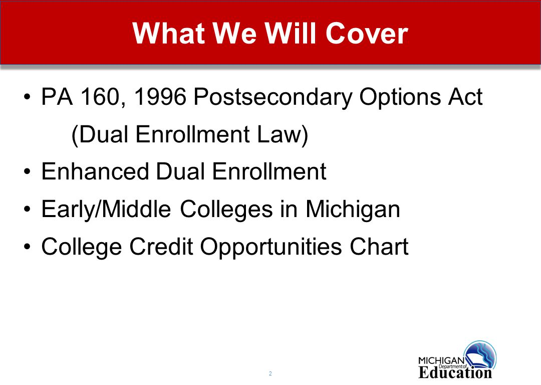 What We Will Cover 2 PA 160, 1996 Postsecondary Options Act (Dual Enrollment Law) Enhanced Dual Enrollment Early/Middle Colleges in Michigan College Credit Opportunities Chart