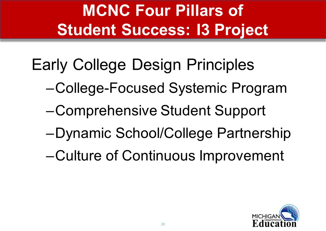 MCNC Four Pillars of Student Success: I3 Project 28 Early College Design Principles –College-Focused Systemic Program –Comprehensive Student Support –Dynamic School/College Partnership –Culture of Continuous Improvement