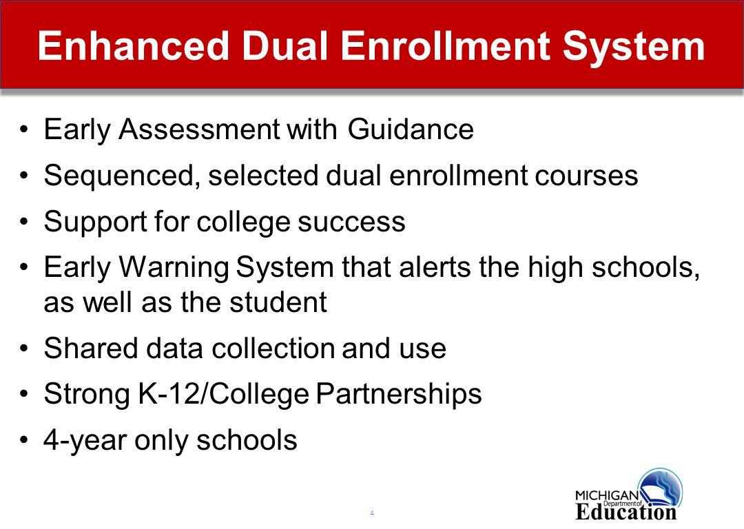 5 Notification of Options to Students School districts are required to inform all students of dual enrollment options By March 1 of each year, a school district or state approved nonpublic school shall provide general information about the postsecondary enrollment options under this act to all pupils in grade 8 or higher.