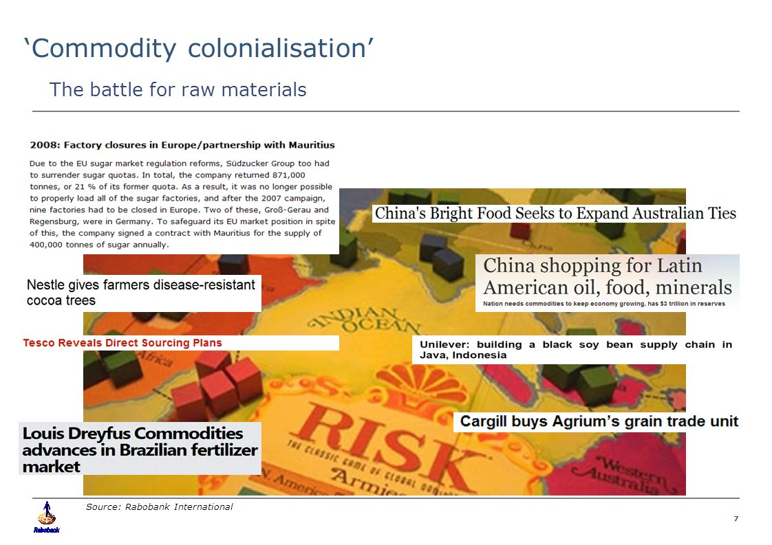 7 Food & Agribusiness Research and Advisory 'Commodity colonialisation' Source: Rabobank International The battle for raw materials