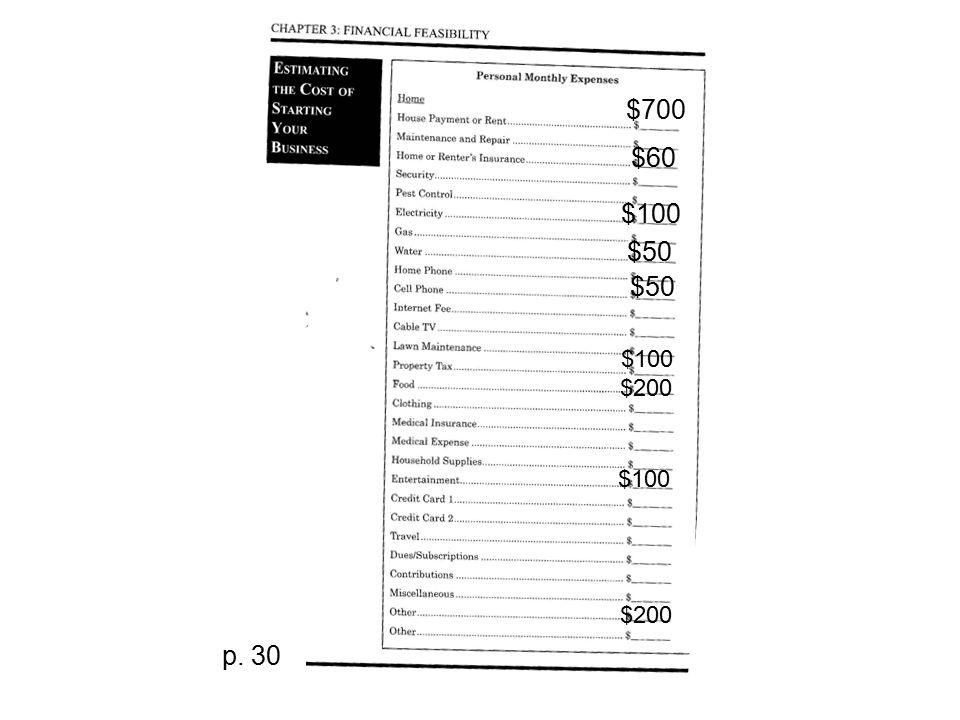 $700 $60 $100 $50 $100 $200 $100 $200 p. 30