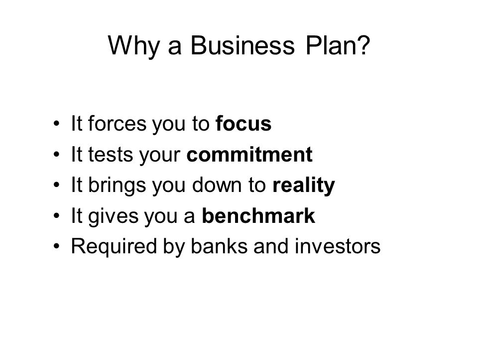 Why a Business Plan.