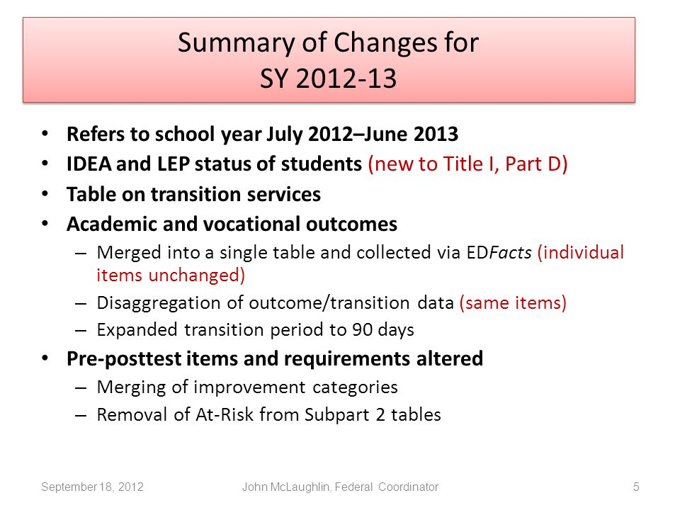 September 18, 2012John McLaughlin, Federal Coordinator5 Refers to school year July 2012–June 2013 IDEA and LEP status of students (new to Title I, Part D) Table on transition services Academic and vocational outcomes – Merged into a single table and collected via EDFacts (individual items unchanged) – Disaggregation of outcome/transition data (same items) – Expanded transition period to 90 days Pre-posttest items and requirements altered – Merging of improvement categories – Removal of At-Risk from Subpart 2 tables Summary of Changes for SY 2012-13