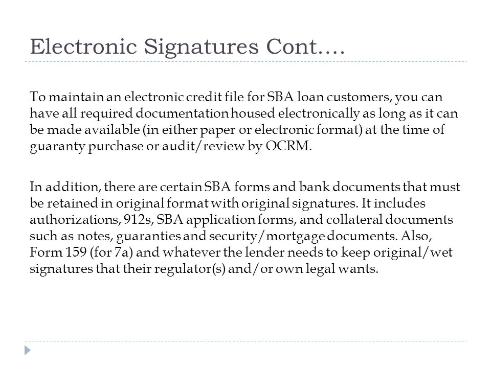 Electronic Signatures Cont.… To maintain an electronic credit file for SBA loan customers, you can have all required documentation housed electronically as long as it can be made available (in either paper or electronic format) at the time of guaranty purchase or audit/review by OCRM.