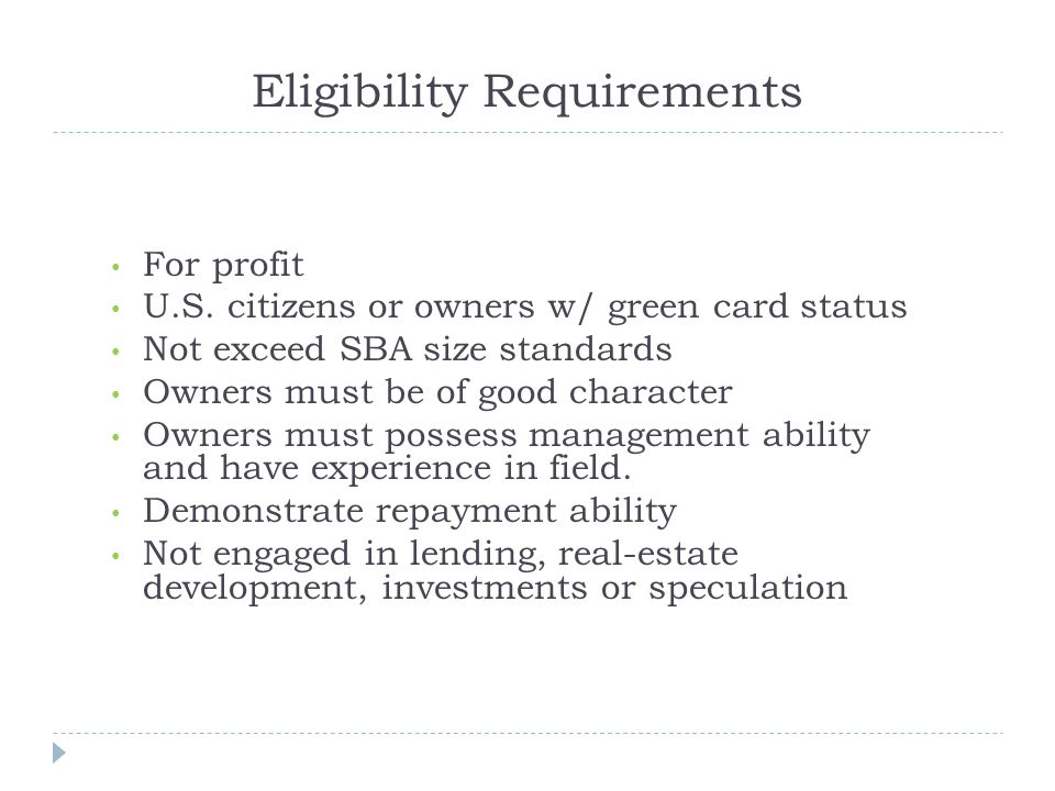 Eligibility Requirements For profit U.S.