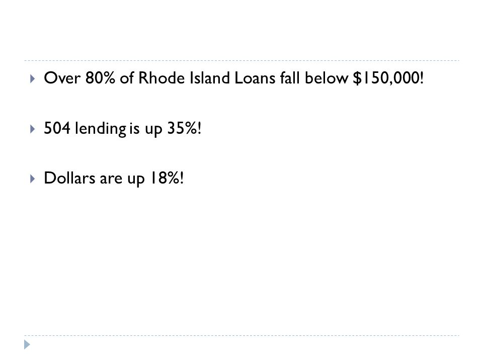  Over 80% of Rhode Island Loans fall below $150,000.