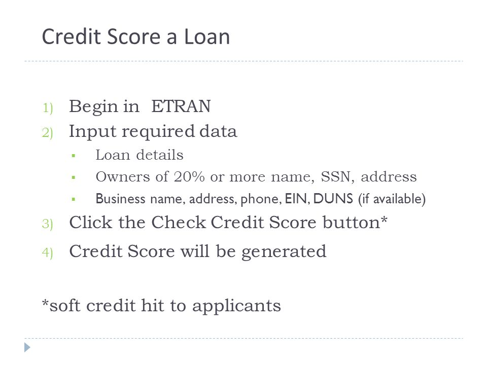 Credit Score a Loan 1) Begin in ETRAN 2) Input required data  Loan details  Owners of 20% or more name, SSN, address  Business name, address, phone, EIN, DUNS (if available) 3) Click the Check Credit Score button* 4) Credit Score will be generated *soft credit hit to applicants