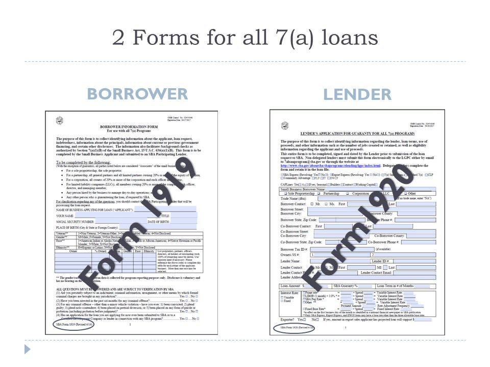 2 Forms for all 7(a) loans BORROWER LENDER