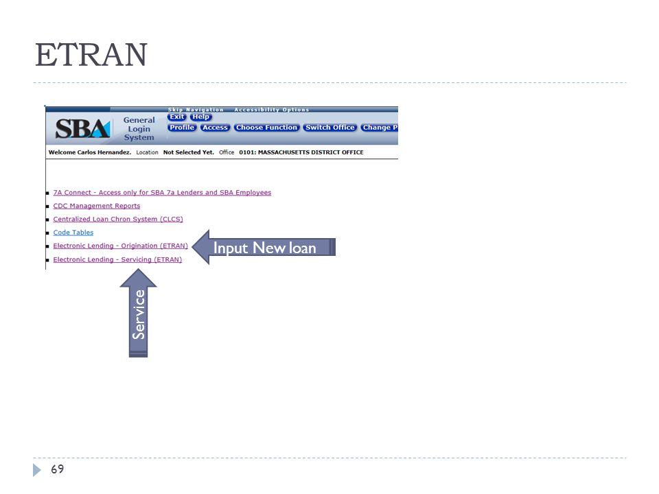 ETRAN 69 Input New loan Service