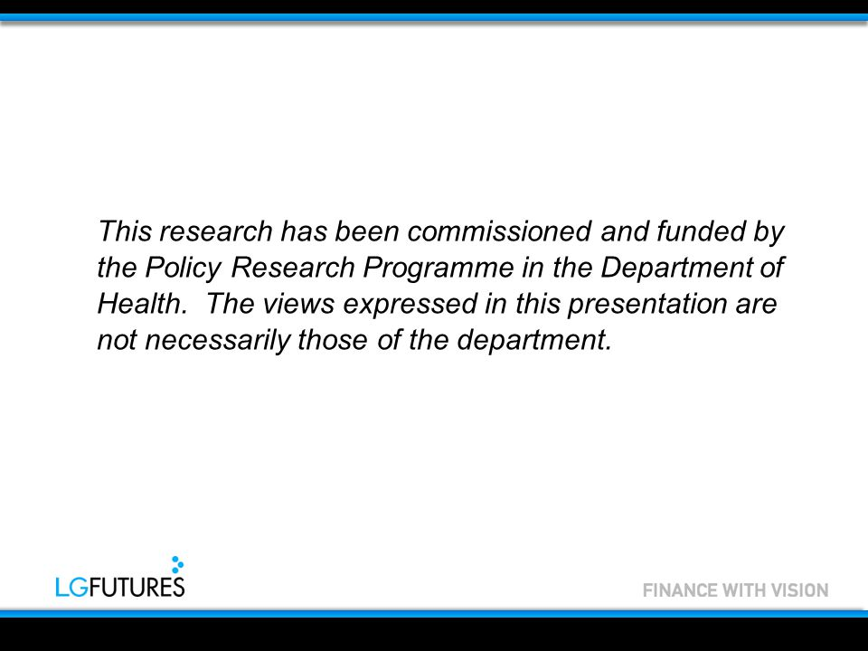 This research has been commissioned and funded by the Policy Research Programme in the Department of Health.