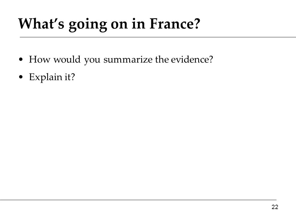 What's going on in France? How would you summarize the evidence? Explain it? 22