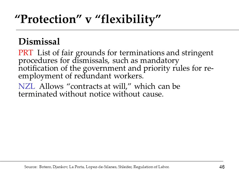 Protection v flexibility 46 Dismissal PRT List of fair grounds for terminations and stringent procedures for dismissals, such as mandatory notification of the government and priority rules for re- employment of redundant workers.