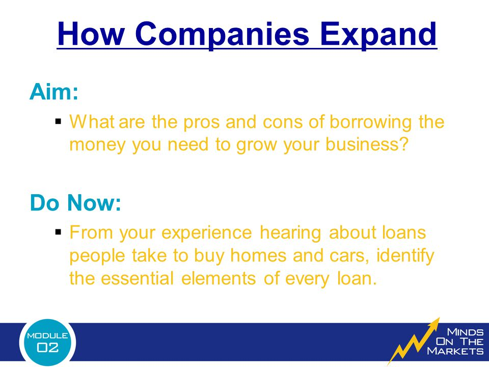 How Companies Expand  Do Now answers: 1.The dollar amount borrowed.