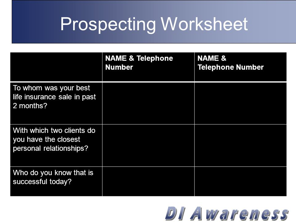 Prospecting Worksheet NAME & Telephone Number NAME & Telephone Number Who do you know today that is most likely to be highly successful five years from now.