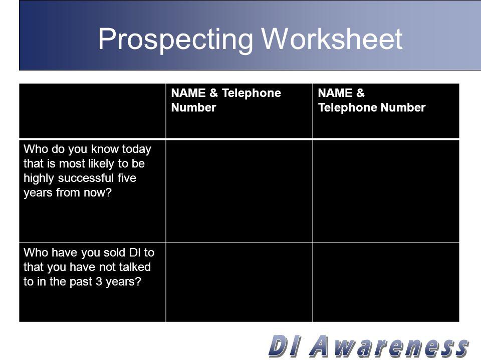 Prospecting Worksheet NAME & Telephone Number NAME & Telephone Number Who do you know that's a business owner.