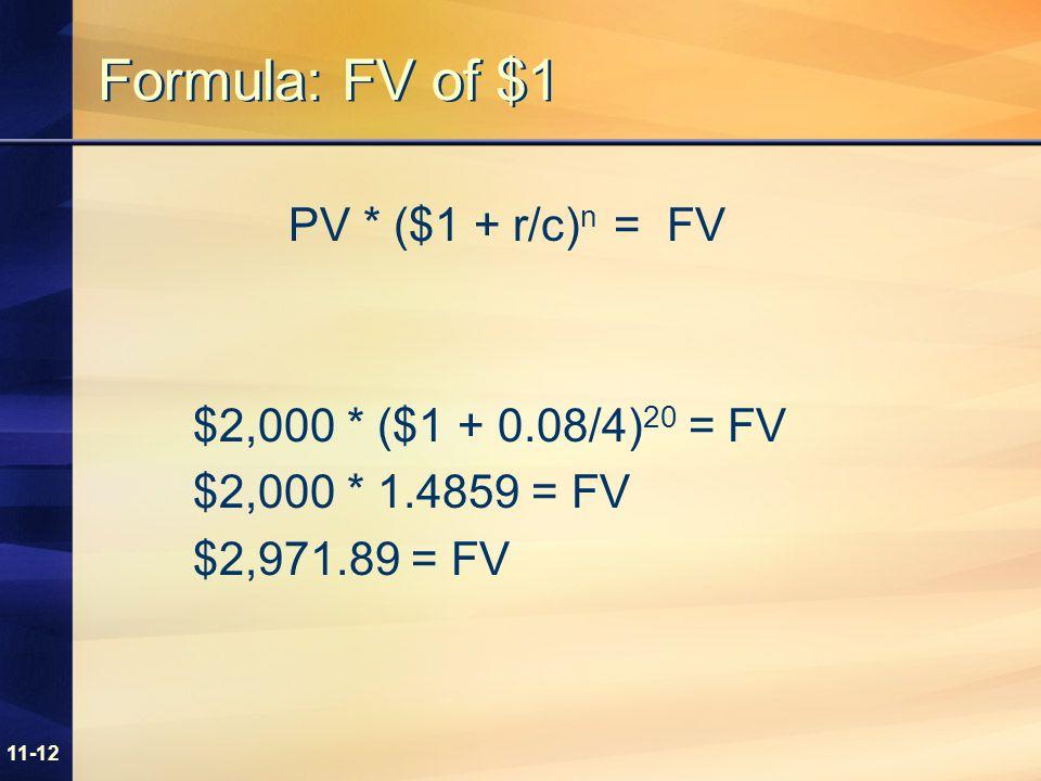 11-12 Formula: FV of $1 PV * ($1 + r/c) n = FV $2,000 * ($1 + 0.08/4) 20 = FV $2,000 * 1.4859 = FV $2,971.89 = FV