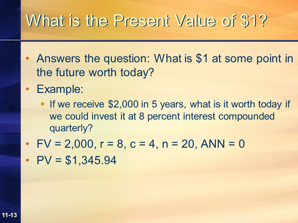 11-13 What is the Present Value of $1.