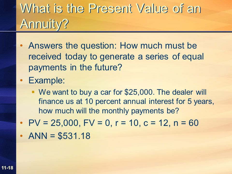 11-18 What is the Present Value of an Annuity.