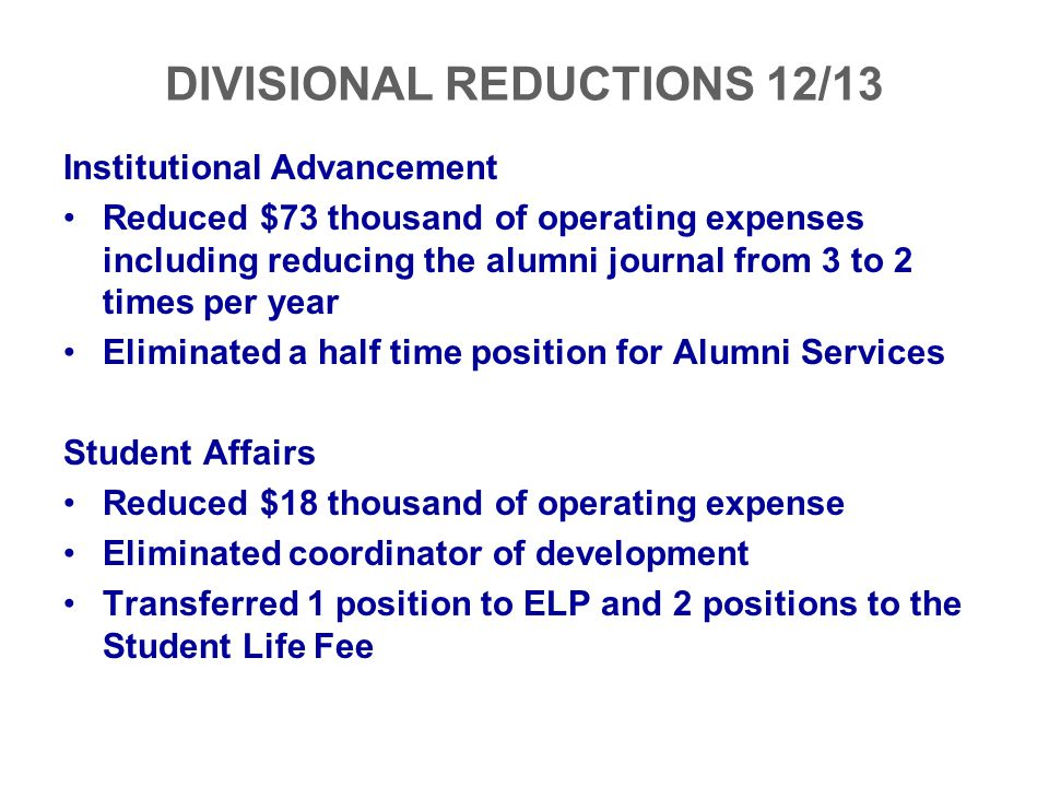 Institutional Advancement Reduced $73 thousand of operating expenses including reducing the alumni journal from 3 to 2 times per year Eliminated a hal
