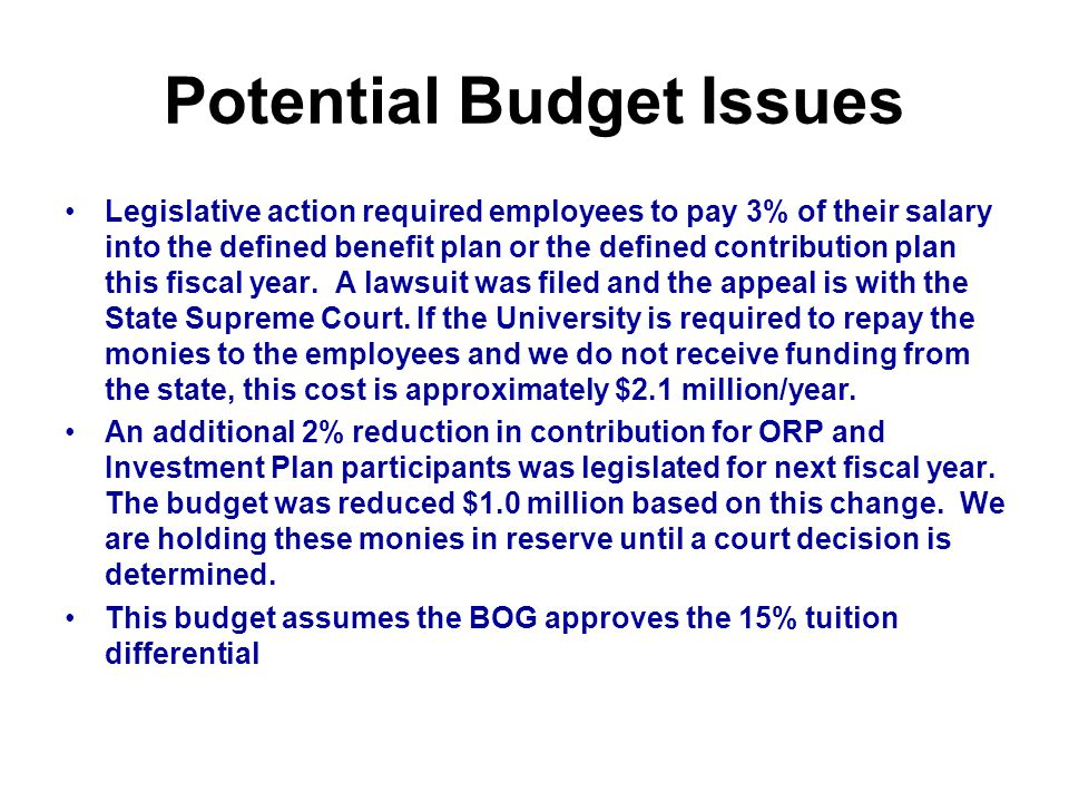 Potential Budget Issues Legislative action required employees to pay 3% of their salary into the defined benefit plan or the defined contribution plan