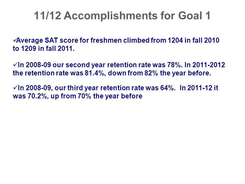 11/12 Accomplishments for Goal 1 Average SAT score for freshmen climbed from 1204 in fall 2010 to 1209 in fall 2011. In 2008-09 our second year retent
