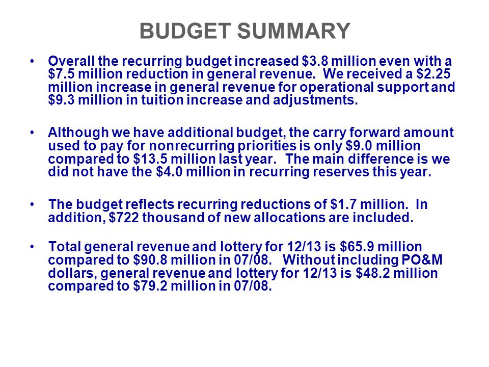 BUDGET SUMMARY Overall the recurring budget increased $3.8 million even with a $7.5 million reduction in general revenue. We received a $2.25 million
