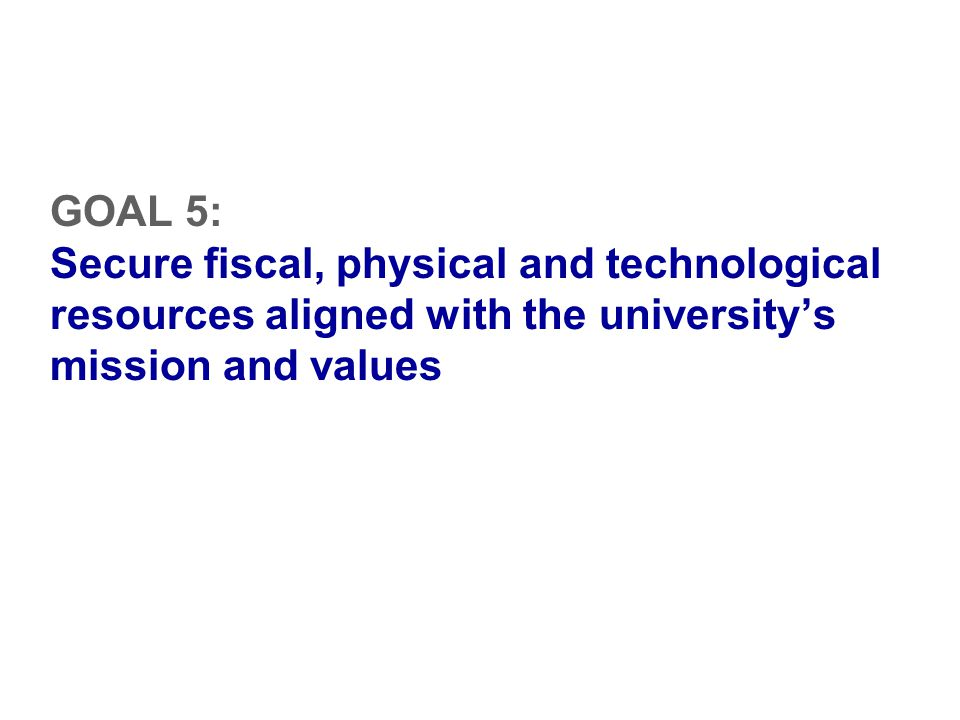 GOAL 5: Secure fiscal, physical and technological resources aligned with the university's mission and values