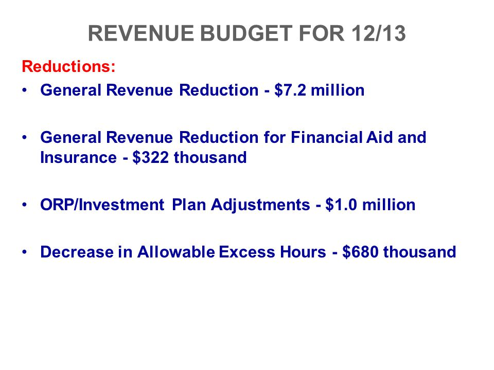 REVENUE BUDGET FOR 12/13 Reductions: General Revenue Reduction - $7.2 million General Revenue Reduction for Financial Aid and Insurance - $322 thousan