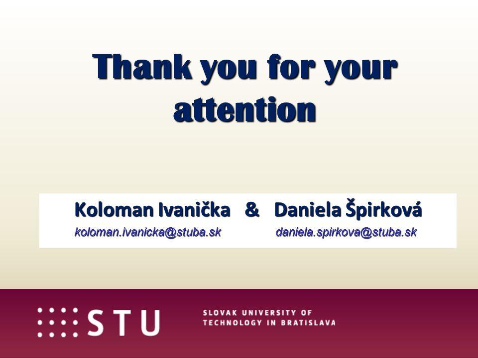 Thank you for your attention Koloman Ivanička & Daniela Špirková koloman.ivanicka@stuba.sk daniela.spirkova@stuba.sk koloman.ivanicka@stuba.sk daniela.spirkova@stuba.sk