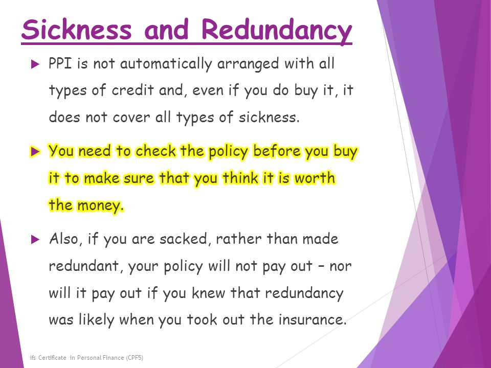 Sickness and Redundancy ifs Certificate in Personal Finance (CPF5)