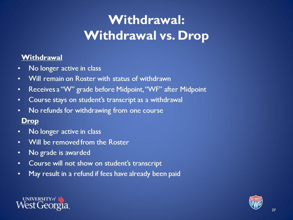 Withdrawal: Withdrawal vs.