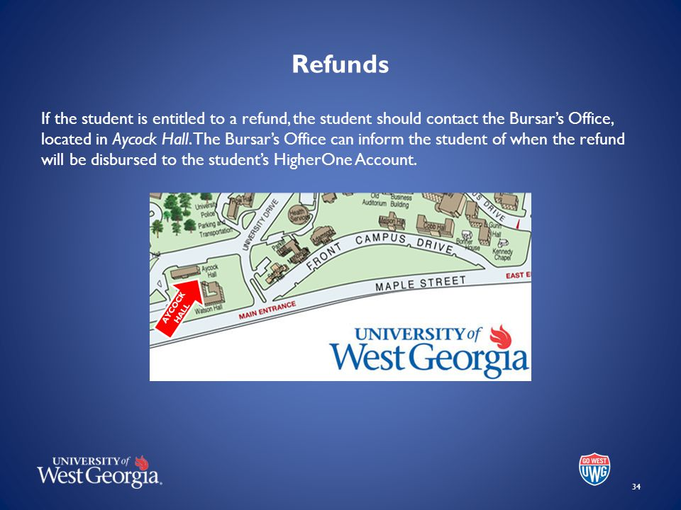 Refunds If the student is entitled to a refund, the student should contact the Bursar's Office, located in Aycock Hall.