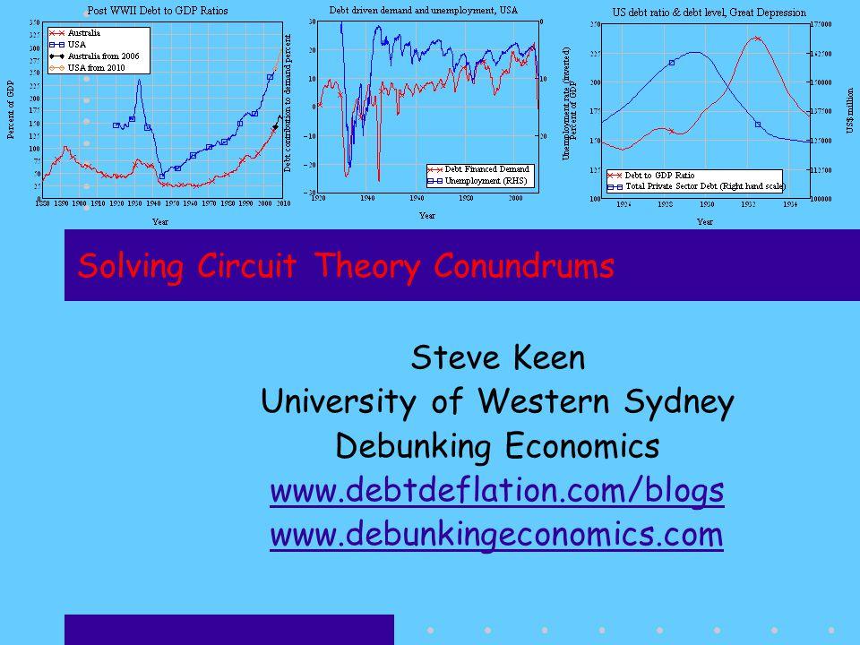 Solving Circuit Theory Conundrums Steve Keen University of Western Sydney Debunking Economics www.debtdeflation.com/blogs www.debunkingeconomics.com