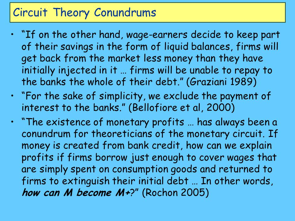 Circuit Theory Conundrums If on the other hand, wage-earners decide to keep part of their savings in the form of liquid balances, firms will get back from the market less money than they have initially injected in it … firms will be unable to repay to the banks the whole of their debt. (Graziani 1989) For the sake of simplicity, we exclude the payment of interest to the banks. (Bellofiore et al, 2000) The existence of monetary profits … has always been a conundrum for theoreticians of the monetary circuit.