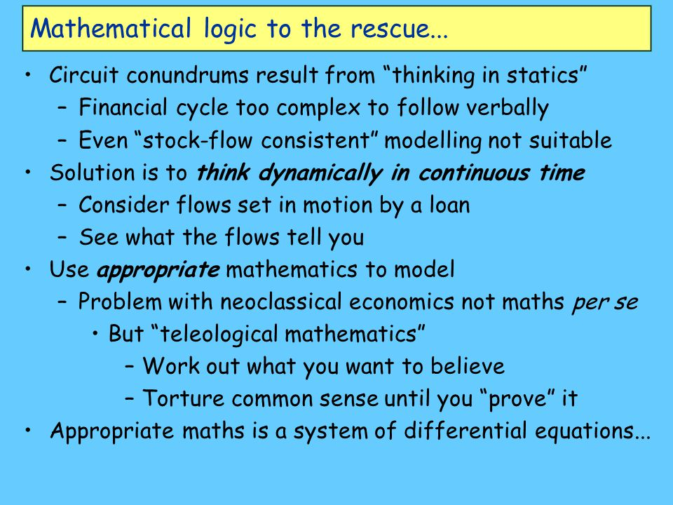 Mathematical logic to the rescue...
